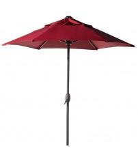 Abba Patio 7-1/2 ft. Round Outdoor Market Patio Umbrella with Push Button Tilt and Crank Lift, 100% Solution dyed Polyester, Red
