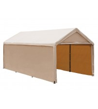 Abba Patio 10 X 20 ft Heavy Duty Beige Domain Carport, Enclosed Car Canopy Versatile Shelter with Sidewalls