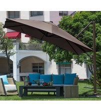Abba Patio 10 ft Square Easy Open Offset Outdoor Umbrella Square Parasol with Cross Base, Chocolate