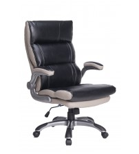 VIVA OFFICE High Back Office Chair, Thick Padded Black and Light Grey Bonded Leather Managerial Chair