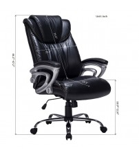 VIVA OFFICE Comfort High Back Bonded Leather Office Executive Chair with Thick Padded Headrest, Backrest and Seat VIVA0505L1