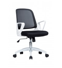 VIVA OFFICE Fashionable Black and White Mid Back Office Chair, Mesh Computer Chair Task Chair with Adjustable Armrests