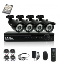 1080N SECURITY CAMERA SYSTEM 4 CHANNEL SURVEILLANCE DVR, 4PCS 720P AHD BULLET IR-CUT IP66 WEATHERPROOF CAMERAS WITH 1TB HARD DRIVE