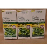 Natures Science Green Coffee Bean WEIGHT LOSS 100 Caplets Exp 10/17 + LOT OF 3 RAW 135