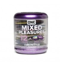 ONE Mixed Pleasures 12 Condoms in 6 Styles Plus Travel Tin Exp 09/18 + SEALED