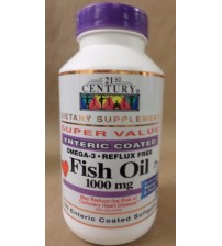 21st Century FISH OIL Omega 3 1000 mg 180 Count Enteric Softgels Exp 01/18 NEW RAW 1107