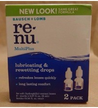 Bausch Lomb ReNu MultiPlus Lubricating and Rewetting Drops 2 Pack Exp 10/17 + RAW 1201