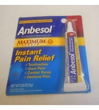 Anbesol Maximum Strength Gel Instant Pain Relief 0.33 oz Exp 10/18+ SEALED MEDS 2028