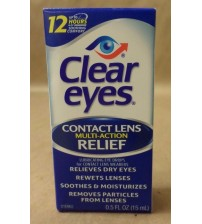 Clear Eyes Contact Lens Relief 12 Hour Multi Action 0.5 fl oz Exp 012/17 NEW MEDS 736