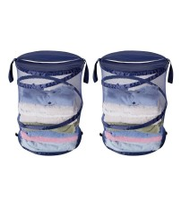 StorageManaic Pop Up Laundry Hamper with Carrying Handle 2 Pack in Blue New HOME 10050