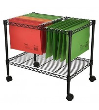 Finnhomy Metal Rolling File Cart Supreme 1 Tier for Letter Size and Folder Black HOME 1175