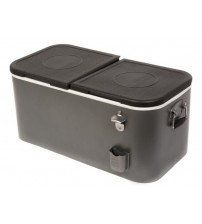 HIO Steel Cooler 60 Qt Outdoor Patio Double Lid Silver and Black New See Details OUT 5126