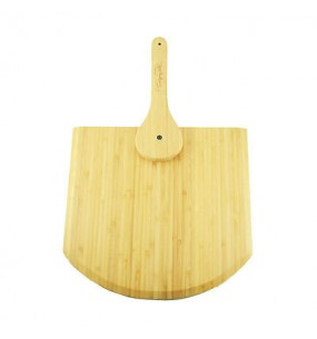 Wolfgang Puck Bamboo Pizza Peel With Fold In Handle Natural Wood Easy Storage