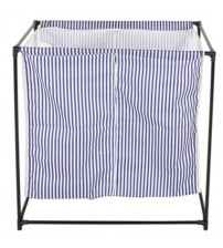 StorageManiac 2 Compartment Portable Laundry Hamper Blue and White Stripes