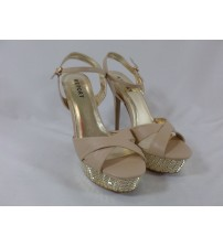 Report Womens Choose Your Size Ankle Strap High Heel Vallerie Beige and Gold New