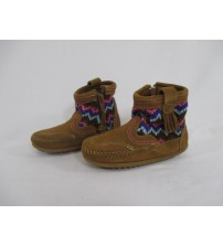 Minnetonka Aspen Bootie Moccasin Kids Sizes 7-12 Dusty Brown Brand New JSL 2971