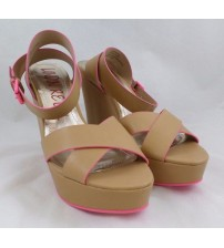 London Rebel Womens Wedges Choose Your Size Daphne Nude with Pink Brand New JSL 949