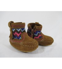 Minnetonka Aspen Bootie Moccasin Infants Sizes 1-6 Dusty Brown Brand New JSL 2704