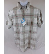 Columbia Button Up Short Sleeve Shirt Mens Large Size Gray and Red Plaid New SGA 557