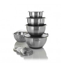 Wolfgang Puck 12 Piece Stainless Steel Mixing Bowl Set Grater Slicer Attachments