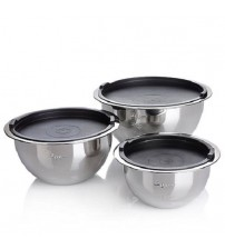Wolfgang Puck 6 piece Stainless Steel Mixing Bowl and Lids Set