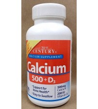 21st Century Health Care CALCIUM 500 mg Plus D3 200 IU 200 Tablets Exp 09/17 OTC 1070