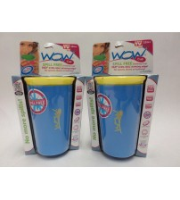 Spill Free Cup for Kids 12 Months or Older Yellow and Blue Wow Cup Lot of 2 New ASTV 356