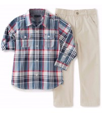 Tommy Hilfiger Shirt and Pant Set Size 6 to 9 Months 2 Piece in Plaid Tan New