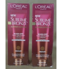 L'Oreal Sublime Bronze Summer Express SPF 20 Medium 1 fl oz 2 Pack 09/17 + GLV 1867