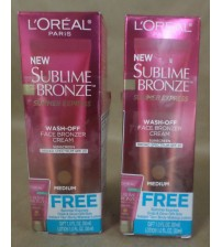 L'Oreal Wash Off Face Bronzer Cream SPF 20 Medium 1 fl oz 2 Pack 09/17 + GLV 1871