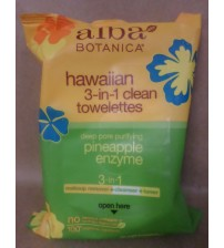 Alba Botanica Hawaiian 3 in 1 Clean Towelettes Pineapple Enzyme 30 Count  GLV 2419