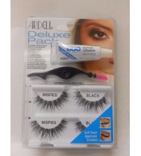 Ardell Deluxe Pack Wispies Black Eyelashes with Applicator/Adhesive New Sealed