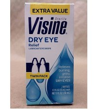 Visine Dry Eye Relief Lubricating Eye Drops 0.5 fl oz each Exp 11/17 + TWIN PACK