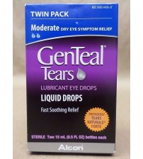 GenTeal Tears MODERATE Dry Eye Symptom Relief Drops 0.5 oz Exp 01/18 TWIN PACK