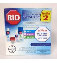 Bayer RID Lice Treatment Complete Kit Easy Three Step Process 4 pc Kit 07/17 + MEDS 2001