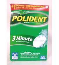 Polident 3 Minute Antibacterial Denture Cleanser Triple Mint 120 Tablets SEALED