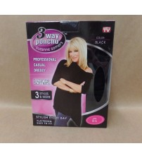 Suzanne Somers 3 Way Poncho Black Size Small to Large Soft and Cozy Brand New