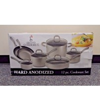 12 Piece Cookware Set Hard Anodized Tempered Glass Lids Non Stick Finish New COOK 5110