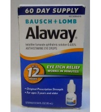 Bausch and Lomb Alaway Eye Itch Relief Drops 12 hour Relief 0.34 oz Exp 01/18 +  OTC 2647