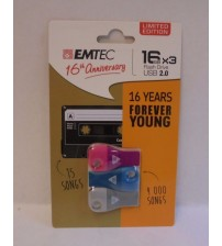 Emtec Flash Drive USB 2.0 16 GB Limited Edition 3 Pack Pink Blue and Gray New ELEC 836