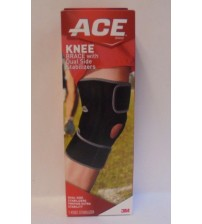 ACE Knee Brace with Dual Side Stabilizers Firm Support 3 Strap System Black New MED 383