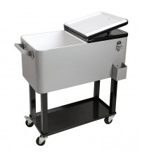 Cooler Cart 80 Qt Outdoor Patio Double Lid Silver and Black Steel by HIO New OUT 5133