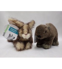 Dog Toy Squeaky Critters Fuzzy Rabbit and Beaver Bundle 11 Inches Long Brand New PET 245