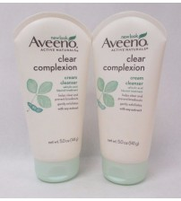 Aveeno Active Naturals Clear Complexion Cream Cleanser 5oz Oil Free Exp 10/17  +
