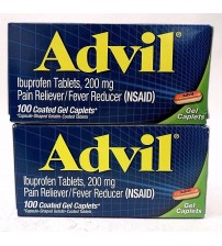 Advil Pain Reliever 200 mg Ibuprofen 100 Coated Gel Caplets Exp 12/17 + LOT OF 2