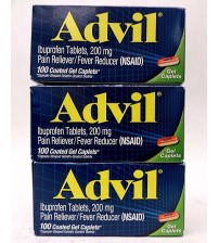 Advil Pain Reliever 200 mg Ibuprofen 100 Coated GEL Caplets Exp 08/17 + LOT OF 3