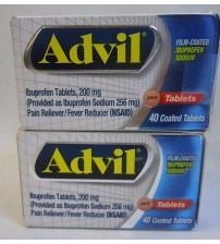 Advil Ibuprofen 200 mg Pain Fever Reducer 40 Coated Tablets Exp 09/17 + LOT OF 2