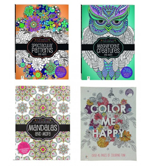 Relaxing Coloring Book Bundle Set Of Four Adult Books Spectacular Magnificent Mandalas And More