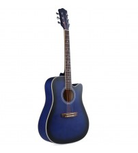 ADM 41 Inch Full Size Dreadnought Cutaway Acoustic Guitar, Attractive Matte Blueburst Finish