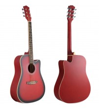 ADM 41 Inch Full Size Dreadnought Cutaway Acoustic Guitar, Attractive Matte Redburst Finish